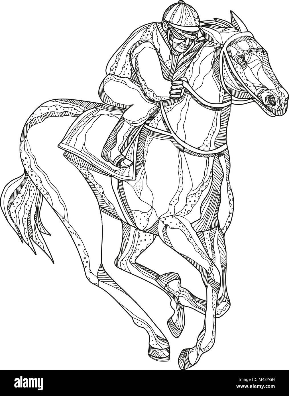 Doodle art Illustration eines Jockey oder Reitsport reiten Pferd ...