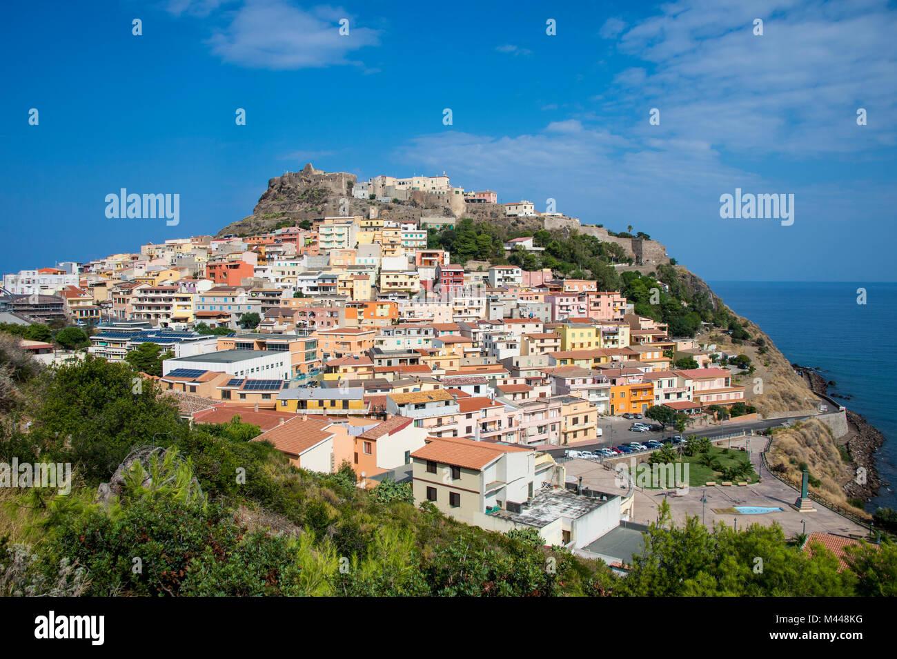 Anzeigen von Castelsardo, Sardinien, Italien Stockbild