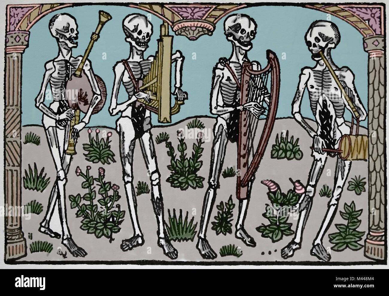 Tanz Orchester des Todes. Gedruckt von Nicolas Le Rouge, 1496. Frankreich. Stockbild