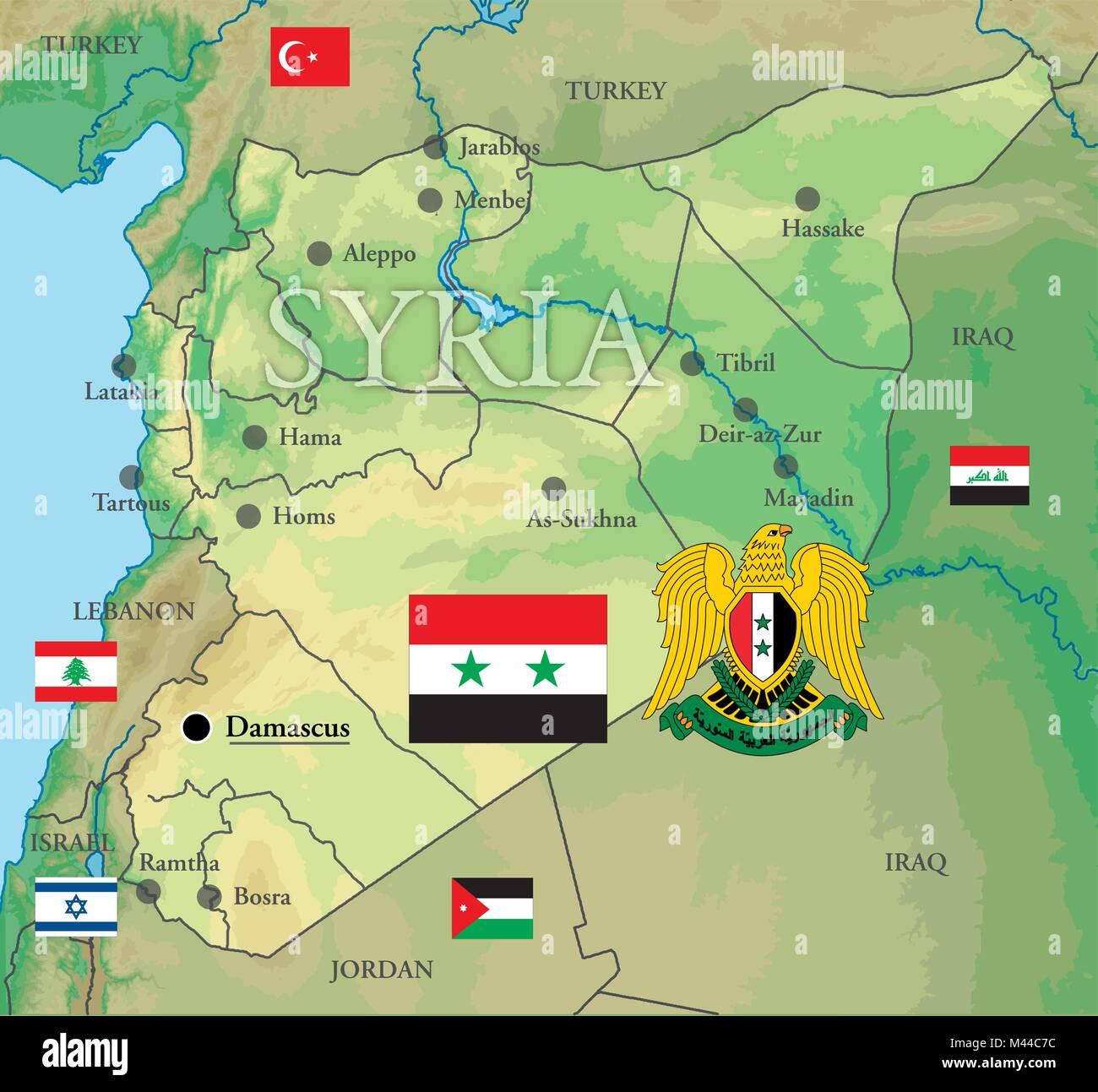Syrien Karte Krieg.Syrien Karte Grenzen Und Flags Vektor Abbildung Bild 174659728