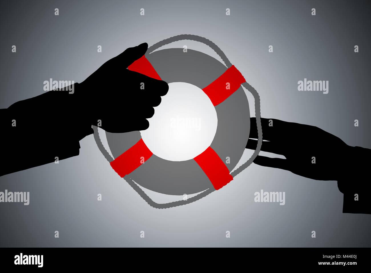 Silhouette einer Zwei Person's Hand vorbei Rettungsring gegen grauer Hintergrund Stockbild
