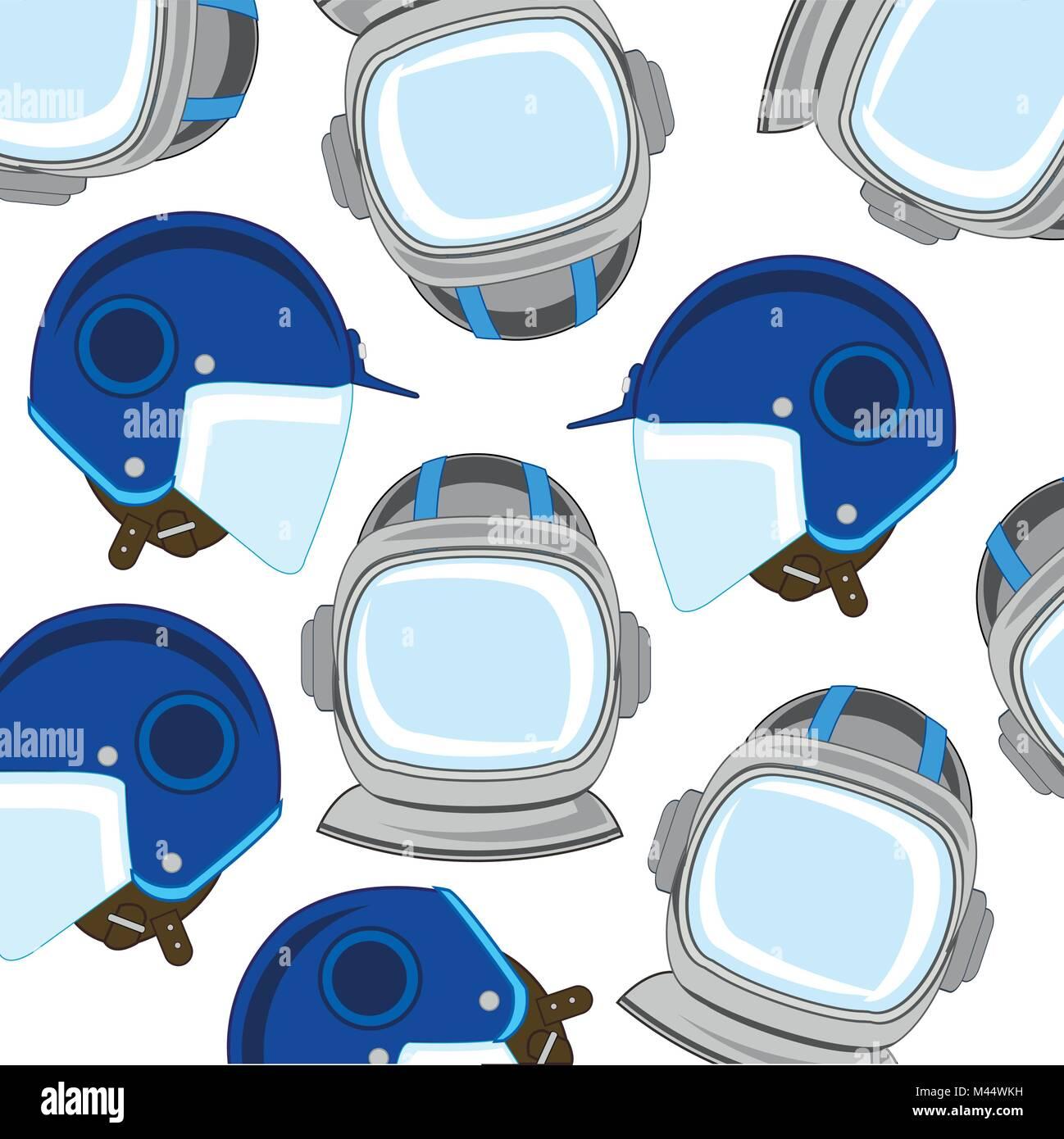 Senden spaceman und Motorradfahrer Muster Stockbild