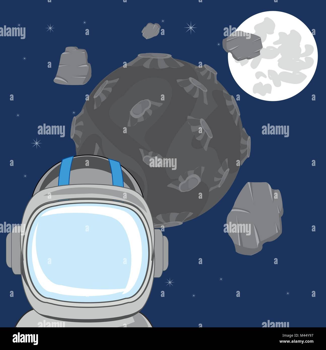 Spaceman in offenen Kosmos Stockbild