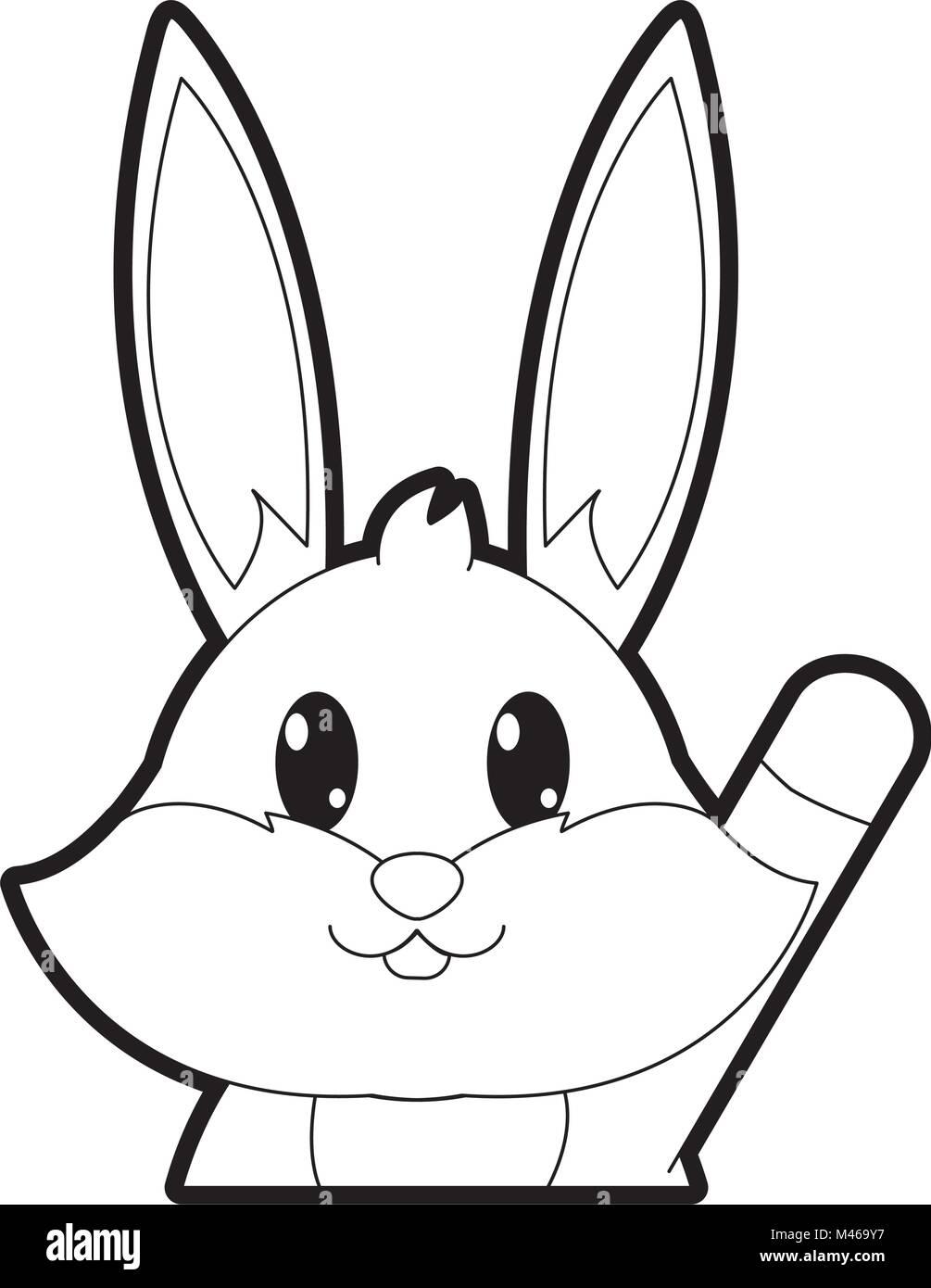 Umrisse adorable Kaninchen niedliche Tier Charakter Vektor Abbildung ...
