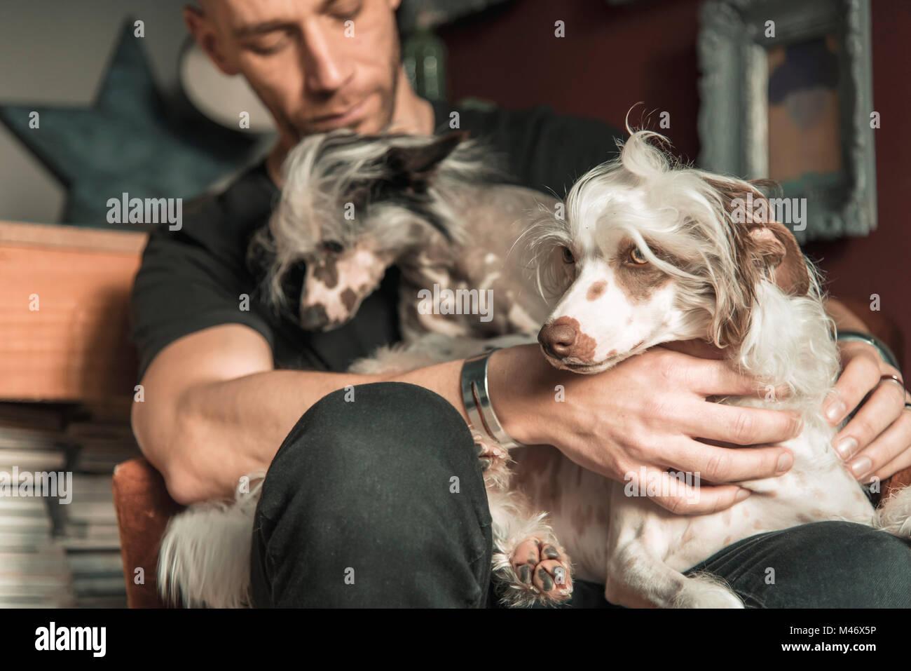 Liebe zwischen einem Mann und seinem Hund Stockbild