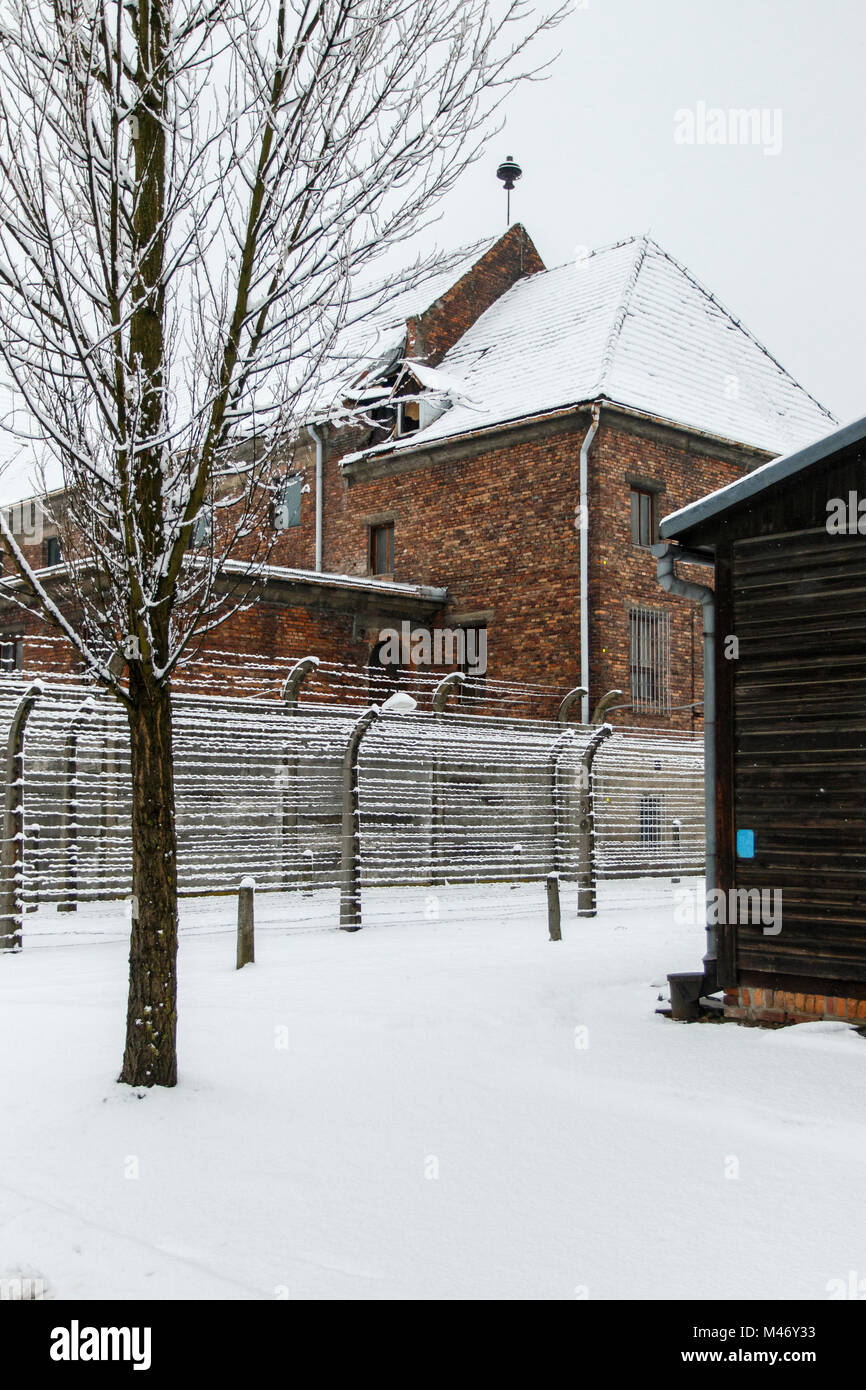 Auschwitz, weniger Polen/Polen - 04.Februar 2018: Auschwitz Birkenau, Nazi Konzentrations- und Vernichtungslager. Stockbild