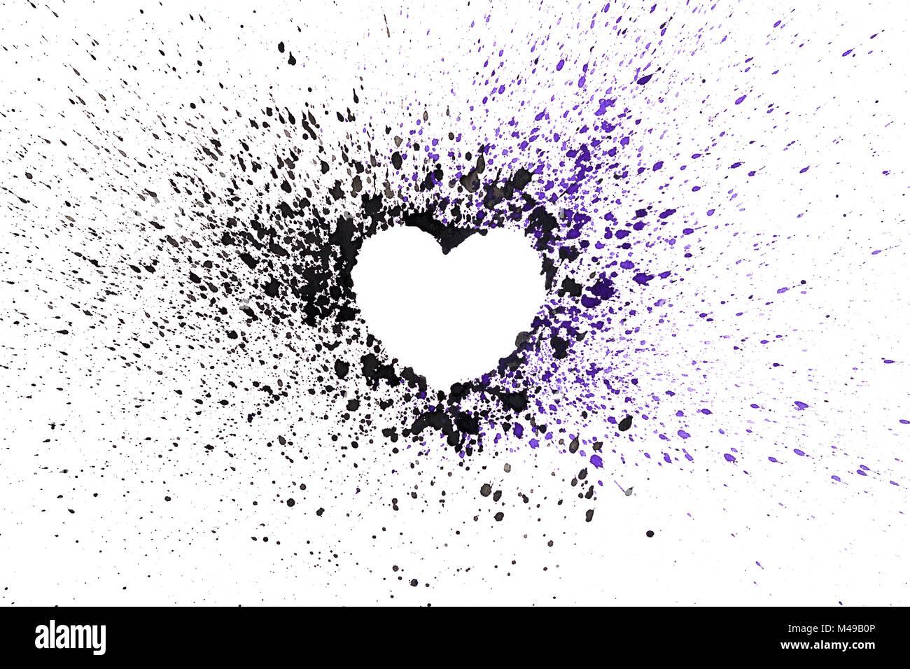 Hand gezeichnet Aquarell dunkle Herz. Aquarelle Herz mit Spritzwasser. Stockbild