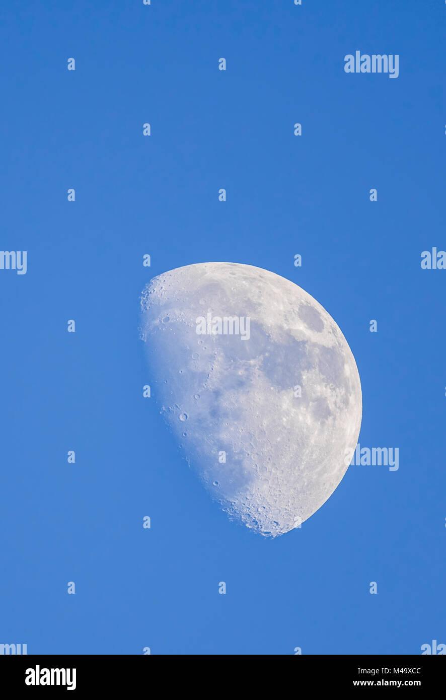 Mond am Tag an Waxing Gibbous Phase gegen den blauen Himmel im Winter, aus Großbritannien. Porträt mit Stockbild