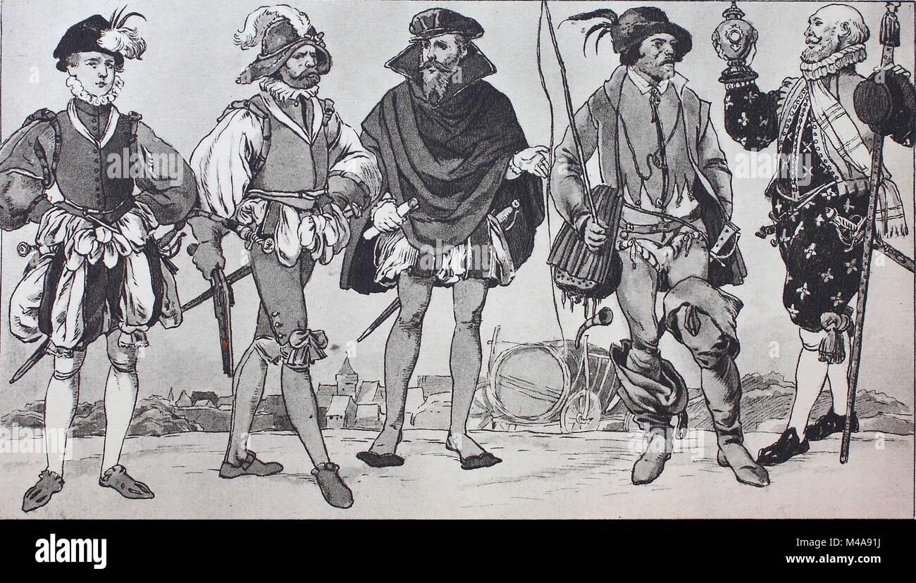 Mode Kleidung In Deutschland Civic Kostume Um 1560 1580 Von Links Mann Von 20 30 Und 40 Jahren In Der Deutschen Kostum Dann Ein Carter Aus Franken Und Nurnberg In Spanisch Festliche Kleidung