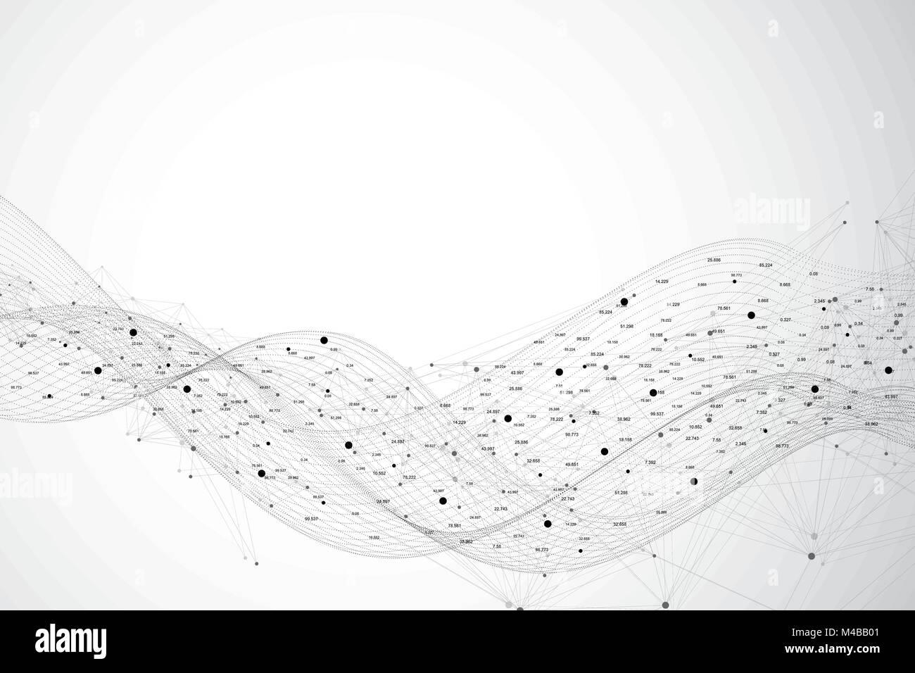 Grafische Zusammenfassung Hintergrund Kommunikation. Big Data-Visualisierung. Perspektive-Kulisse mit verbundener Stock Vektor