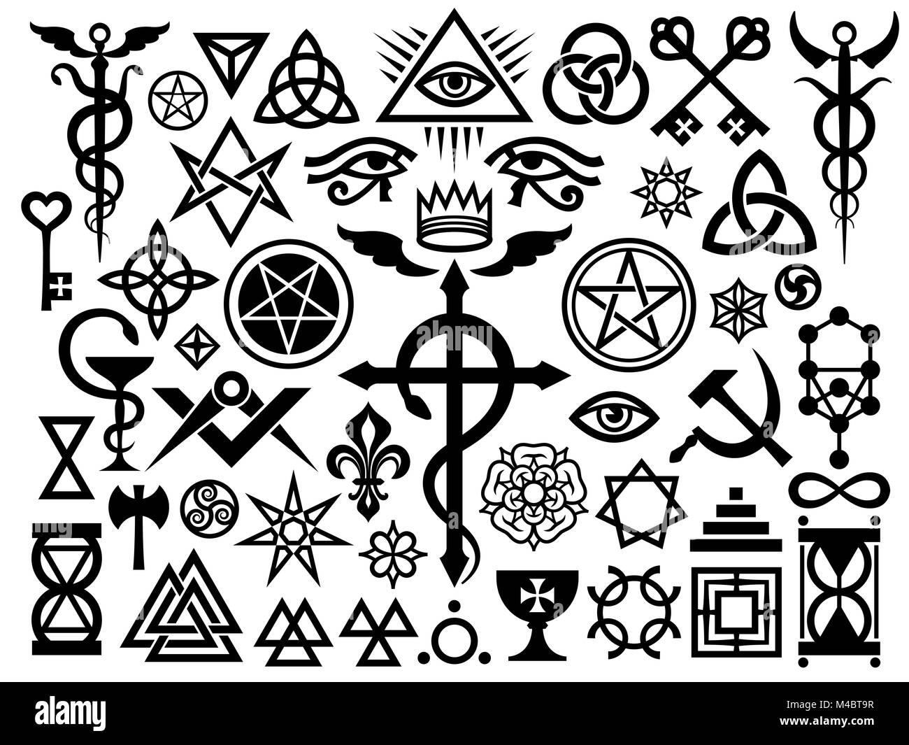 Mittelalterliche okkulten Zeichen und Magie Briefmarken (Ursprung einstellen) Stockbild