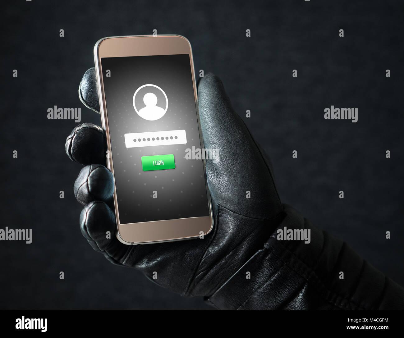 Identitätsdiebstahl und Cyber Security Konzept. Mobile Hacker und kriminelle Login für Personen online Stockbild