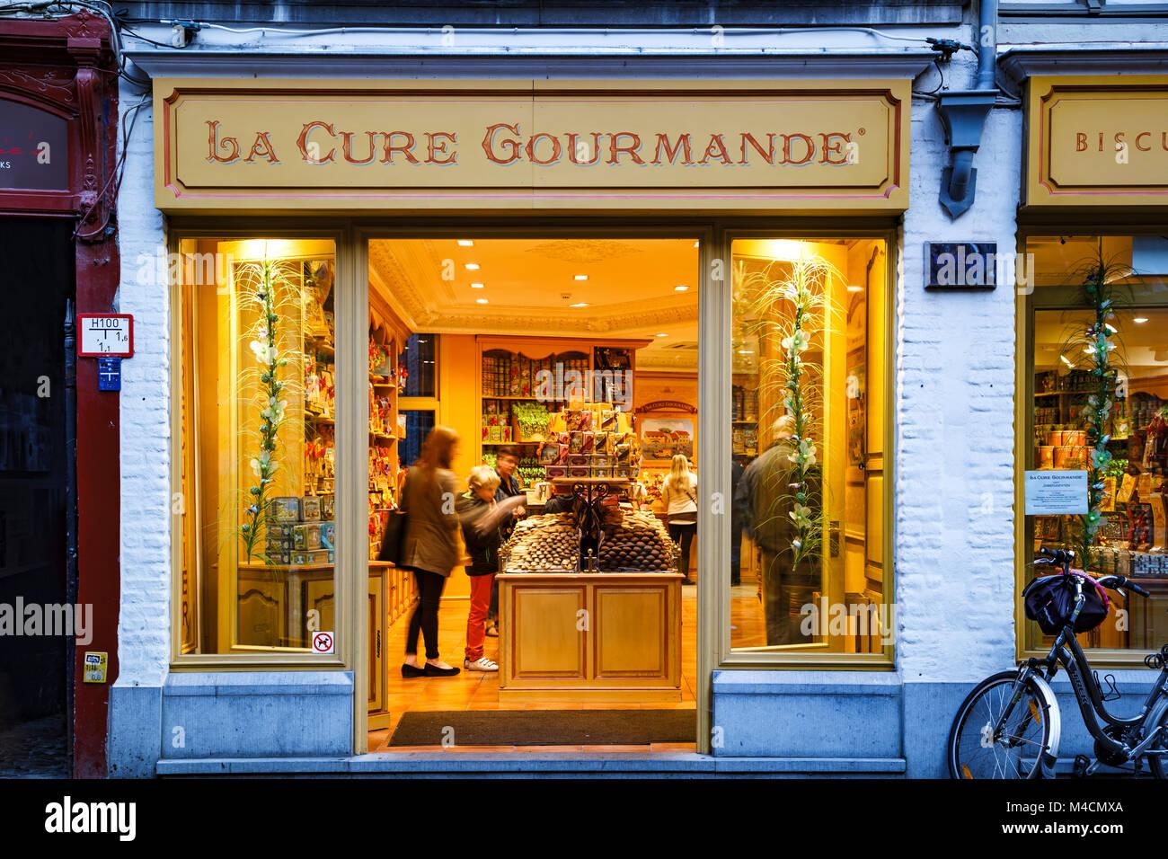 La Cure Gourmande Candy Store, Brügge, Belgien Stockbild