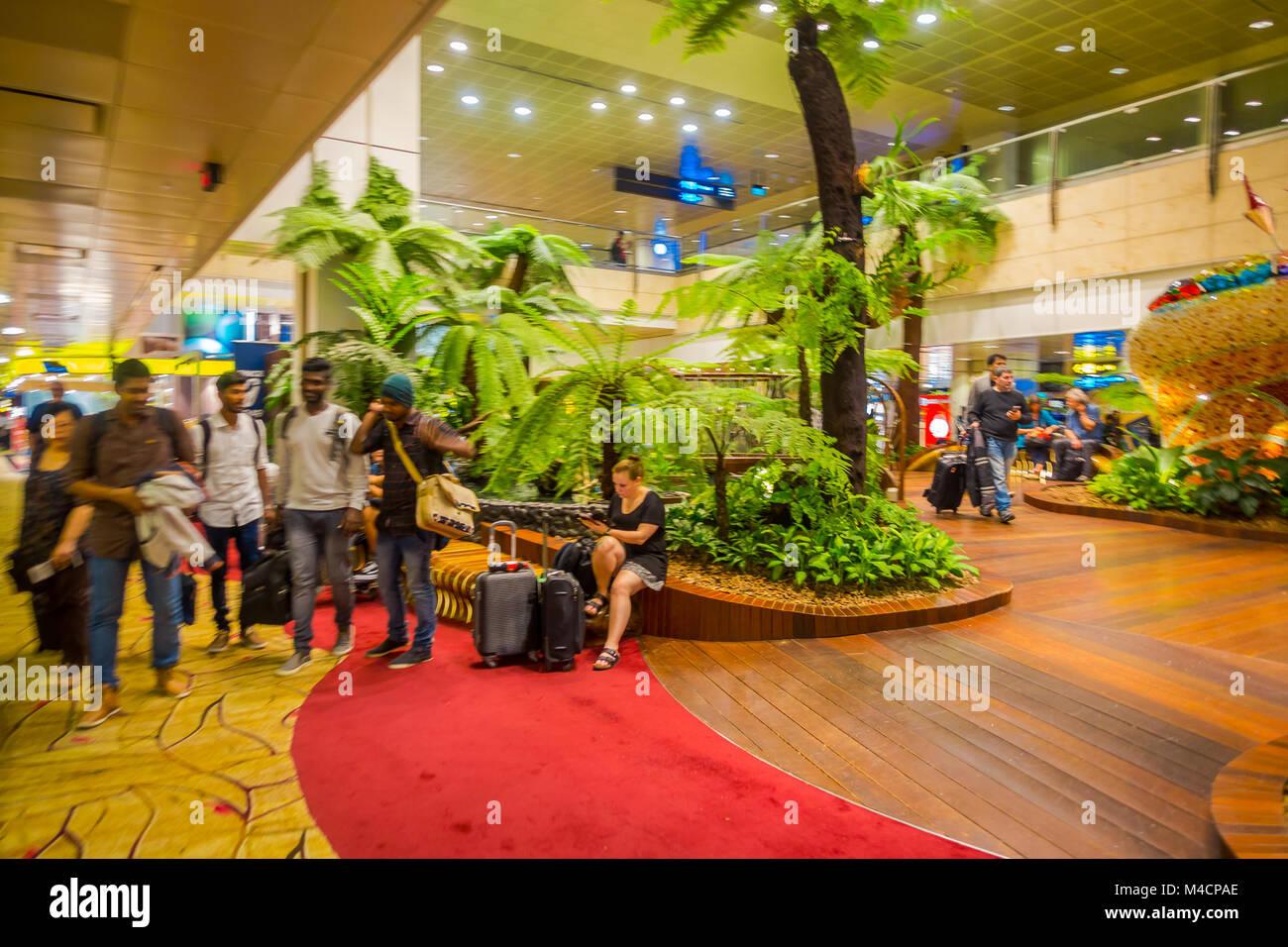 Singapur, Singapur   Januar 30, 2018: Indoor Blick Von Menschen Zu Fuß In  Einem Kleinen Garten Mit Pflanzen Innerhalb Der Flughafen Singapur Changi.