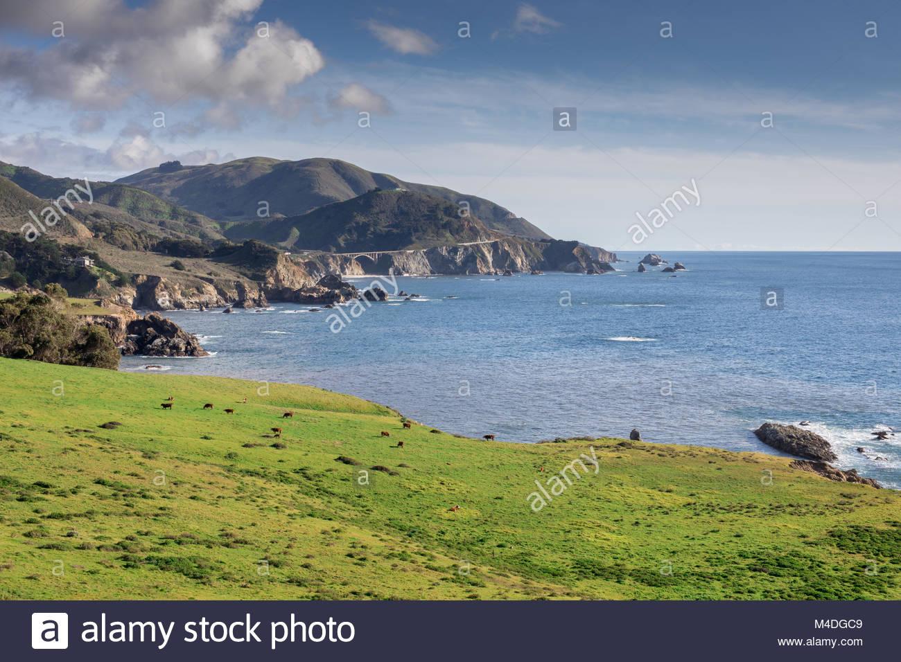 Blick auf Big Sur Küste und Bixby Bridge. Stockbild