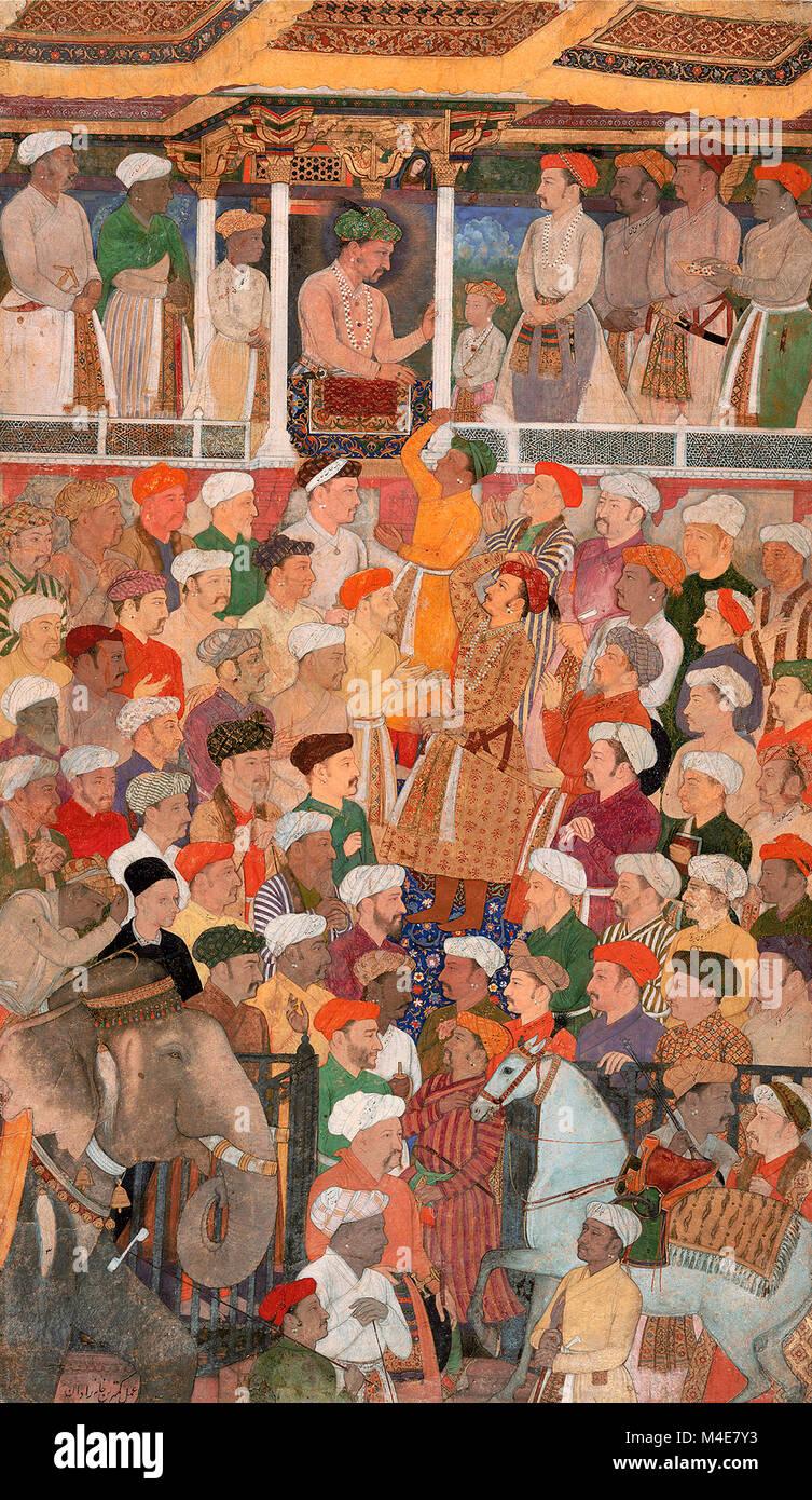 Die jahangir Darbar, aus dem Jahangir-nama, ca. 1620 Stockbild