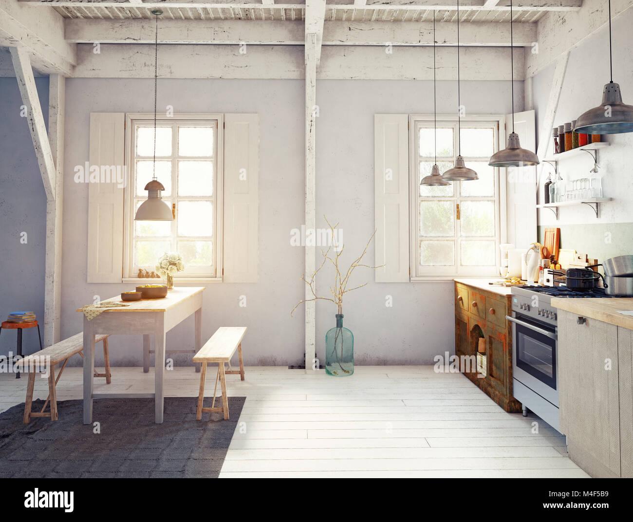 Vintage Style Küche Interieur. 3D-rendering Konzept Design Stockfoto ...