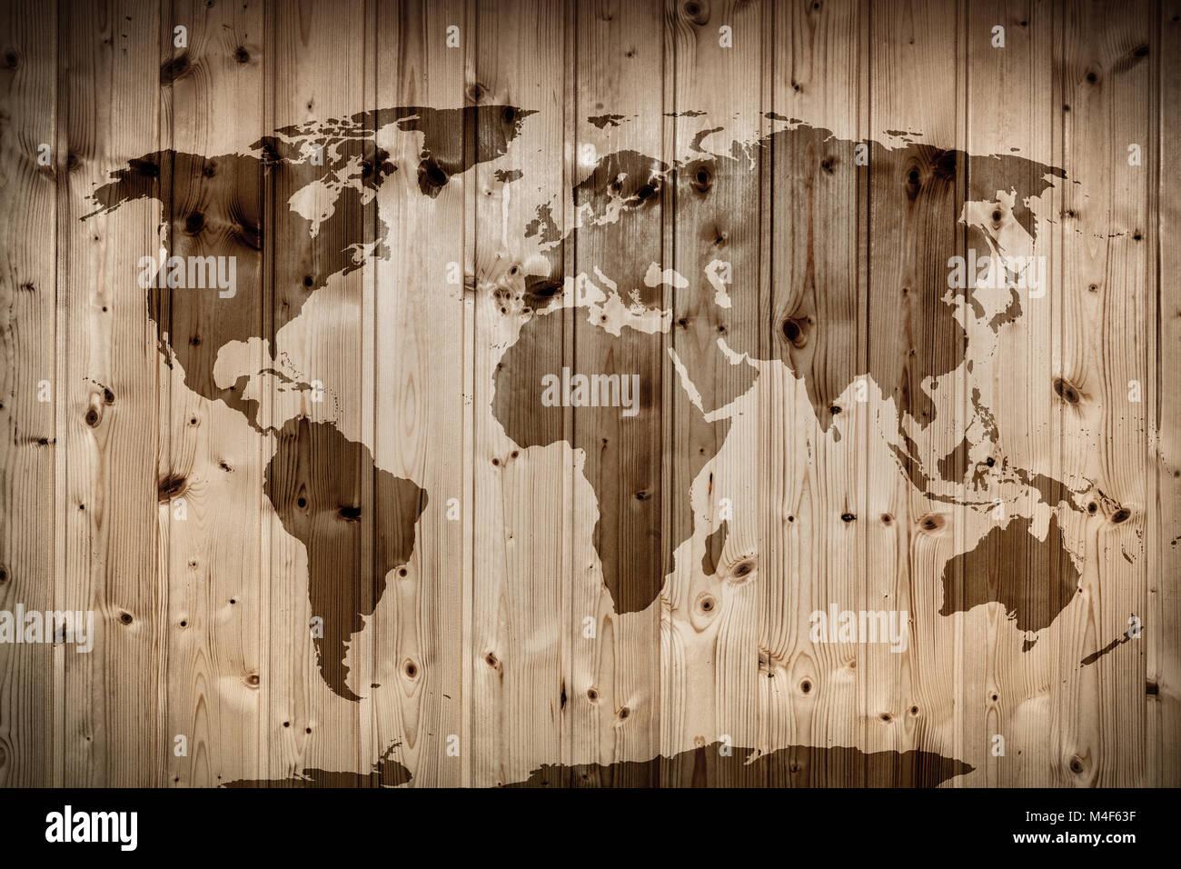 Weltkarte Auf Holz Wand Vintage Stockfoto Bild 174896387 Alamy