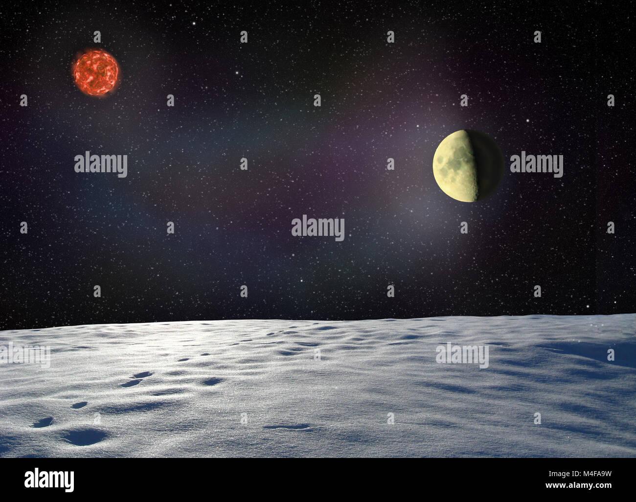 Mond leuchtet die Oberfläche des unbekannten Planeten Stockbild