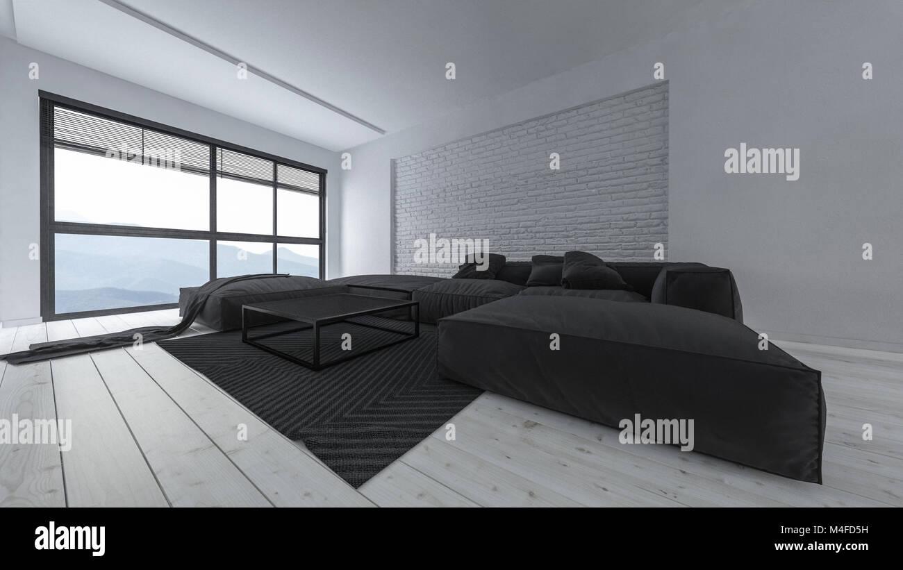 Geraumige Luxuriose Licht Hell Minimalistischen Wohnzimmer