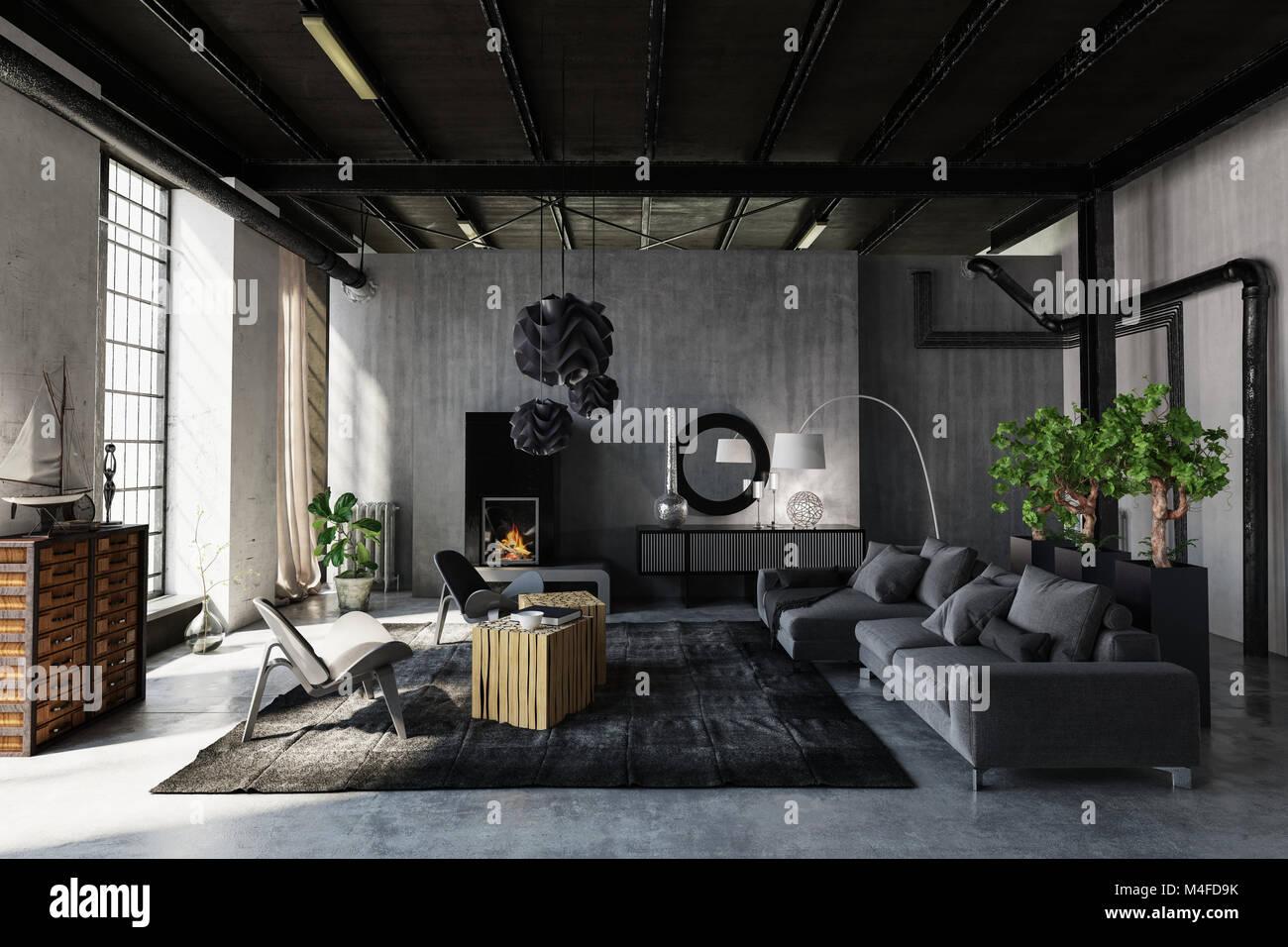 Schickes, Modernes Wohnzimmer In Einem Industriellen Dachbodenumwandlung  Mit Grau Dekor Und Lounge Suite Und Strukturelle Elemente, Die Durch Große  Fenster ...