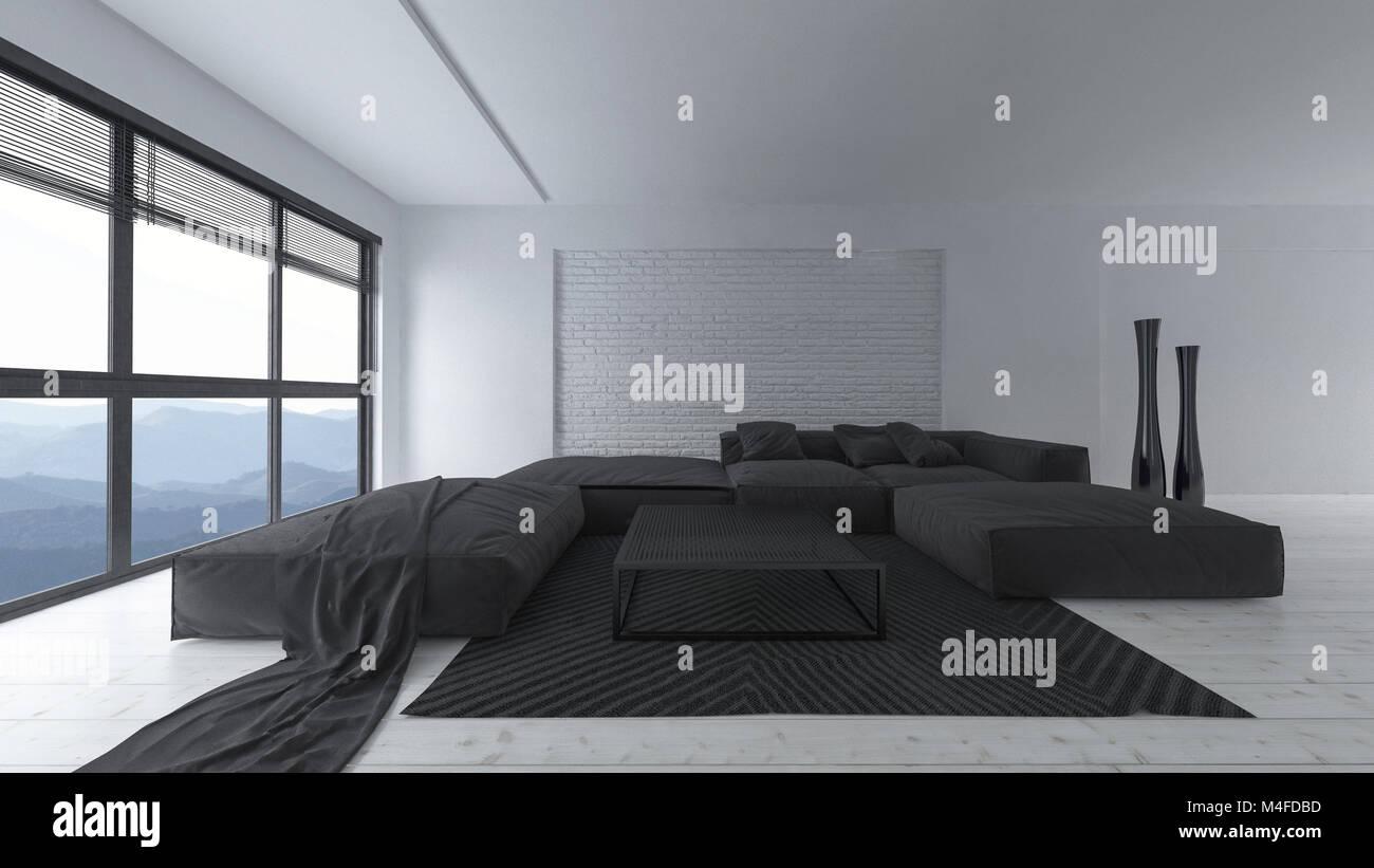 Moderne, in Weiß und Schwarz designer Wohnzimmer Einrichtung mit ...