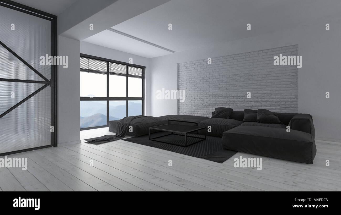 Geräumige, Moderne Luxuriöse Offene Weiße Monochromatischen Loft Wohnzimmer  Einrichtung Mit Großen Schwarzen Sofas Und Wolldecke Vor Einem Hellen Wi