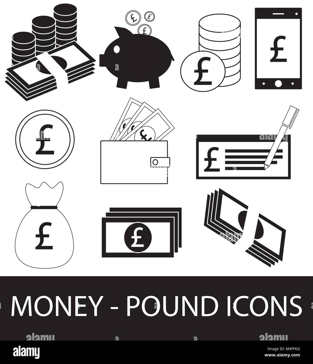 Satz, Sammlung oder Pack von Pfund Währung Symbol oder Logo. Münzen, Noten oder Rechnungen, Handy oder Stockbild