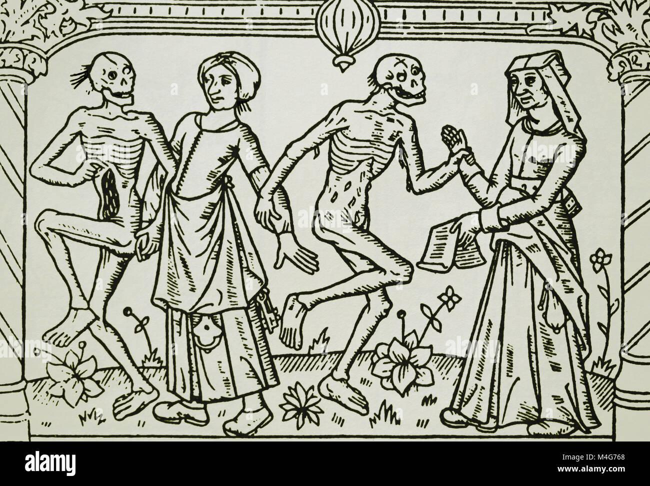 Tanz des Todes von Frauen. Gedruckt von Antoine Verard, Frankreich 1486. Stockbild