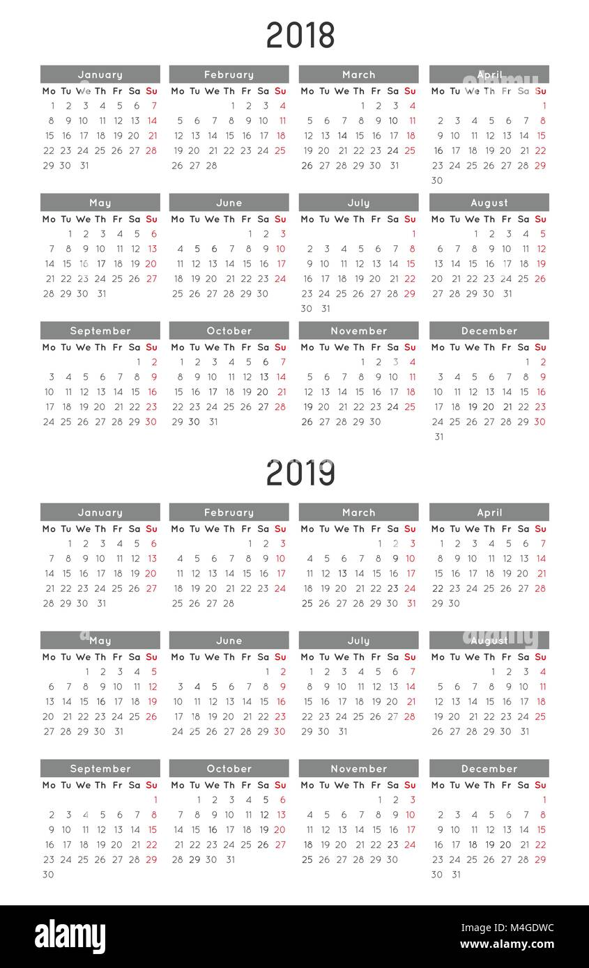 simple 2019 year calendar stockfotos simple 2019 year. Black Bedroom Furniture Sets. Home Design Ideas
