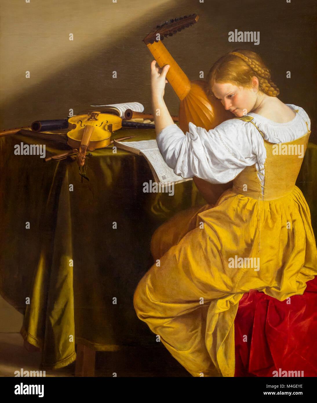 Der Lautenspieler, Orazio Gentileschi, circa 1615, National Gallery, Washington DC, USA, Nordamerika Stockbild