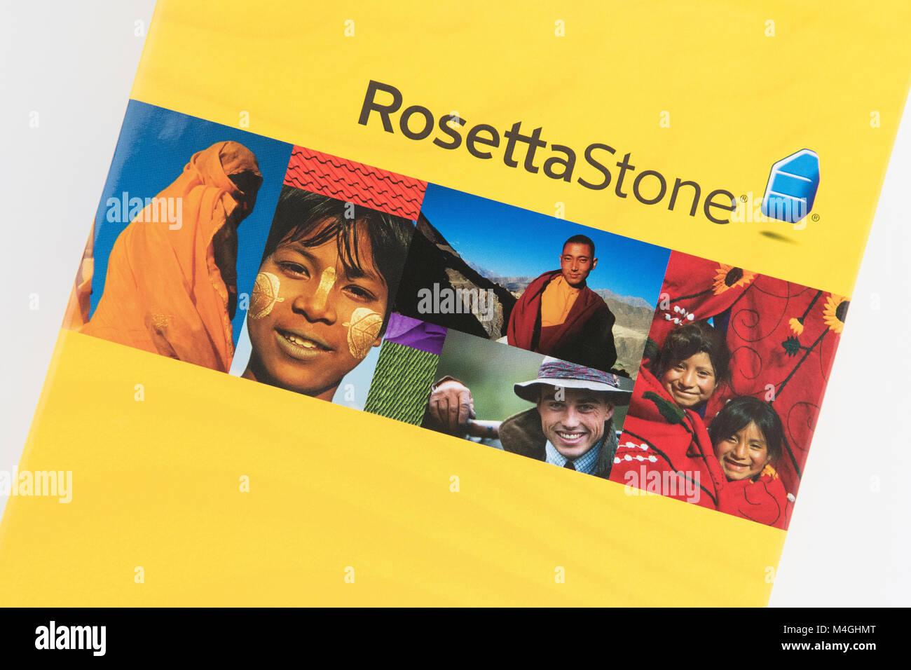 Rosetta Stone Language Learning Software Stockbild