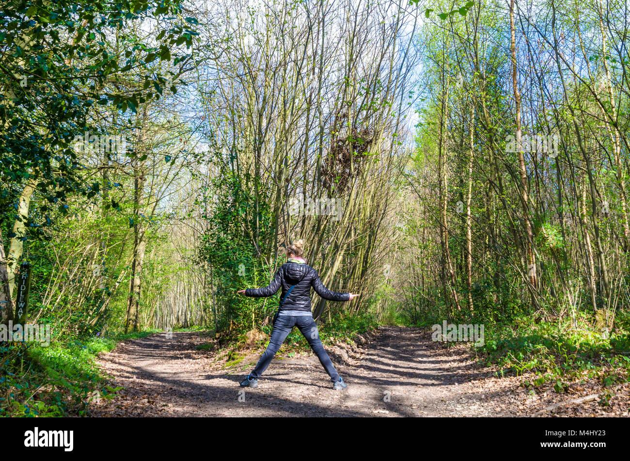 Die Straße weniger reiste. Eine Frau und zwei Pfade im Wald Stockfoto