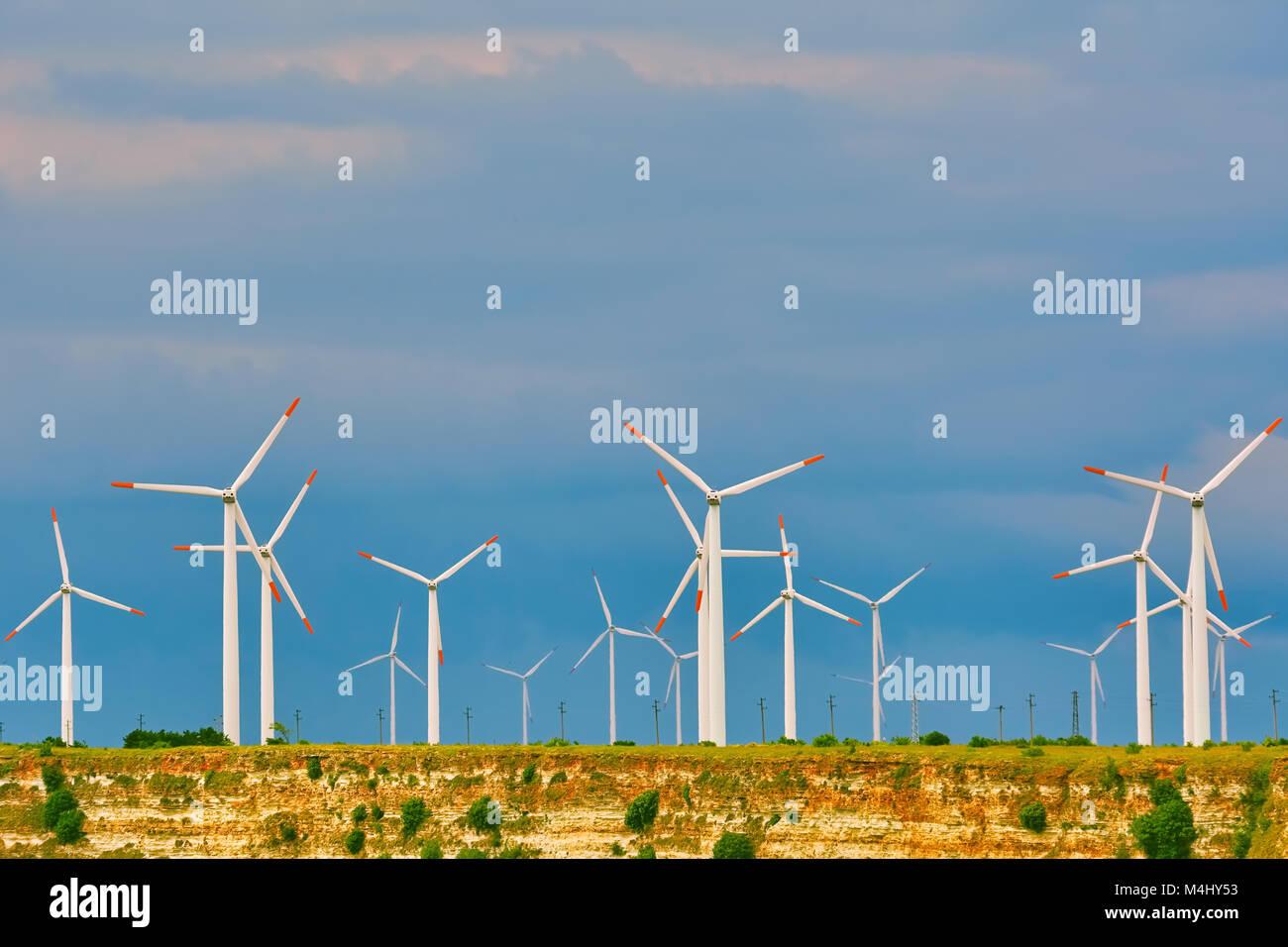 Windkraftanlagen am Kap Kaliakra Stockbild