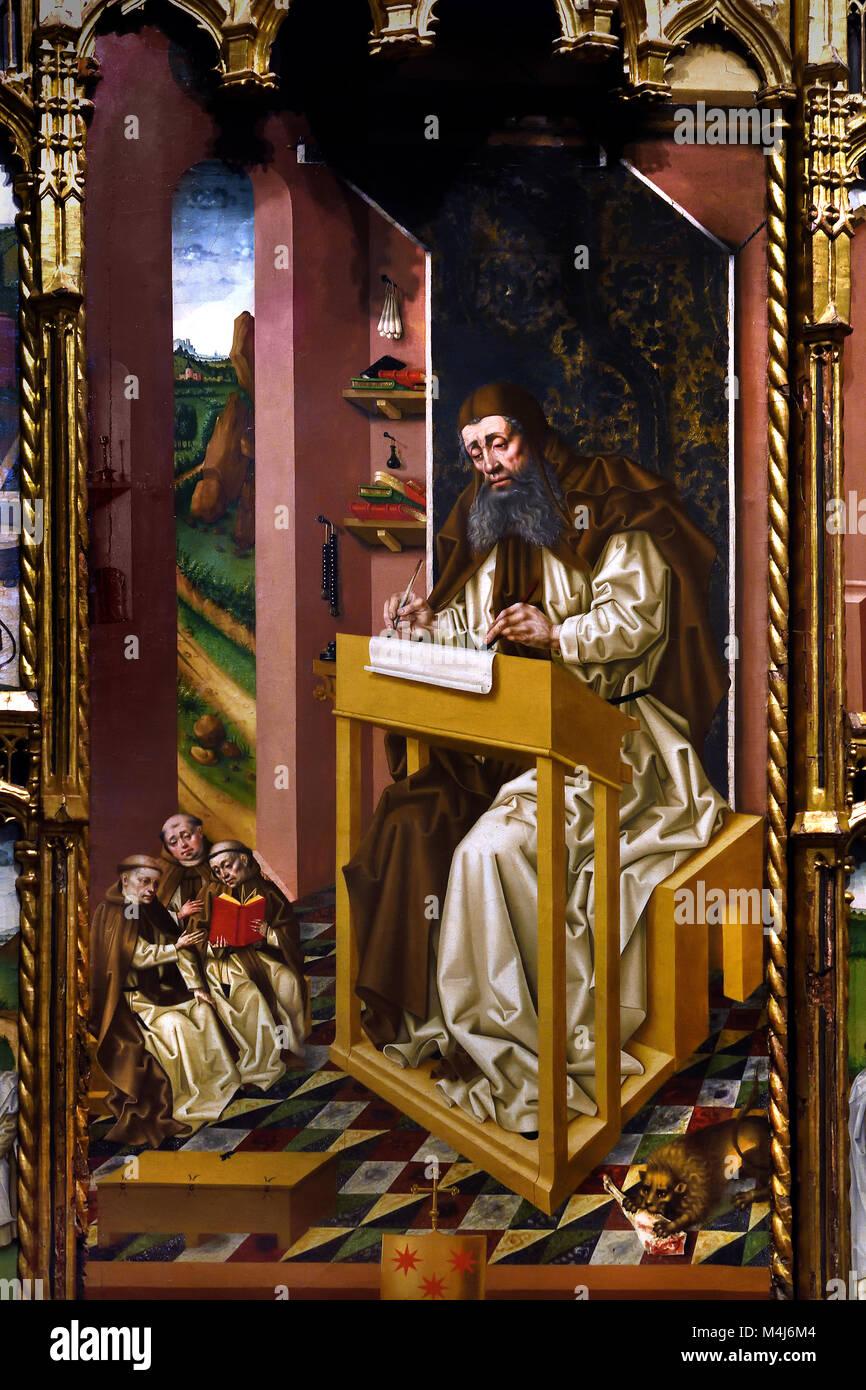 Altar - Altarbild des heiligen Hieronymus 1465 Jorge Ingles Act 1445-1475 16., Jahrhundert, Spanien, Spanisch, Stockbild
