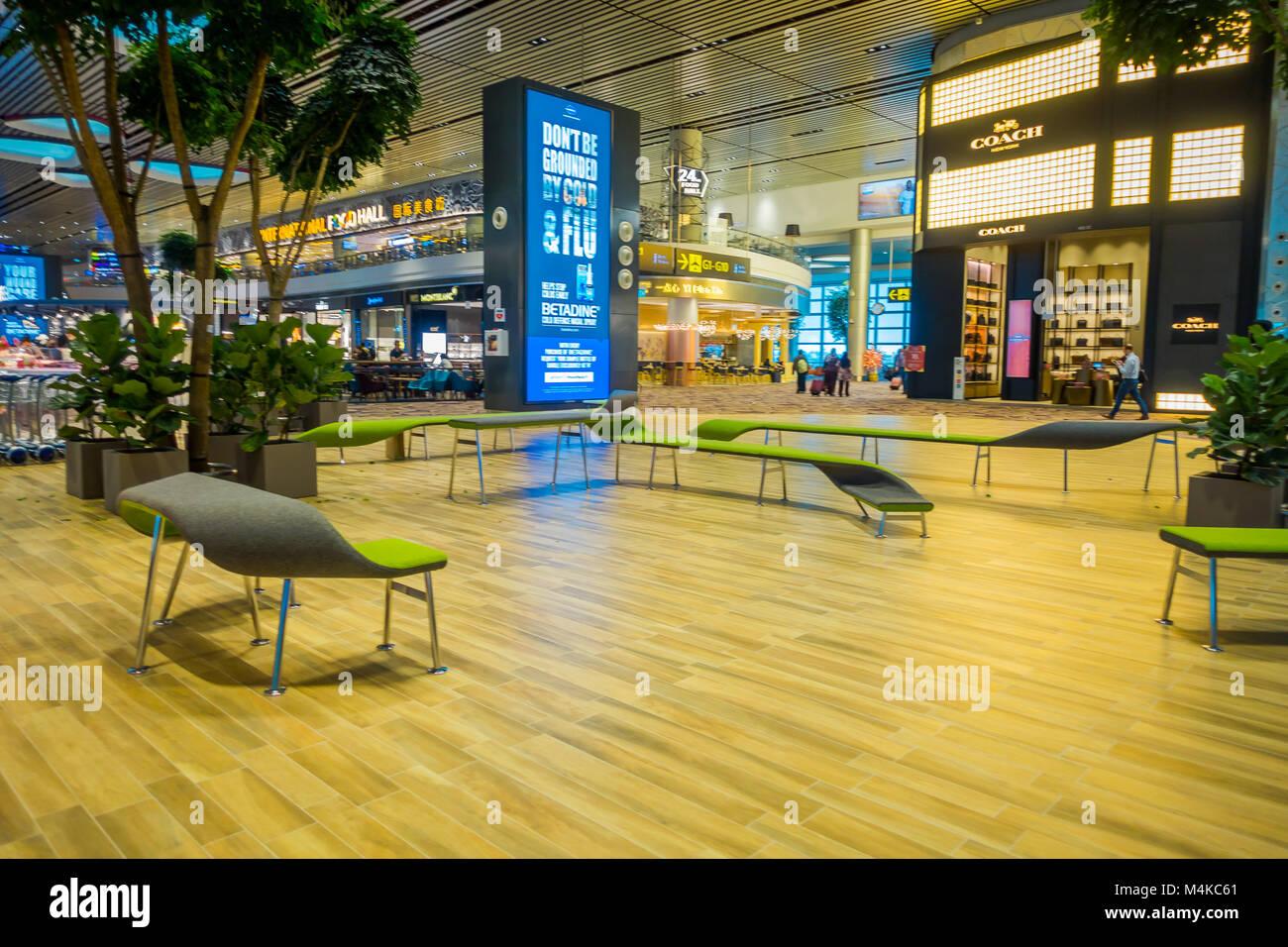 Singapur, Singapur - Januar 30, 2018: Wunderschöne Innenpool Blick der wartenden Wohnbereich mit sonderbaren grüne Stockfoto