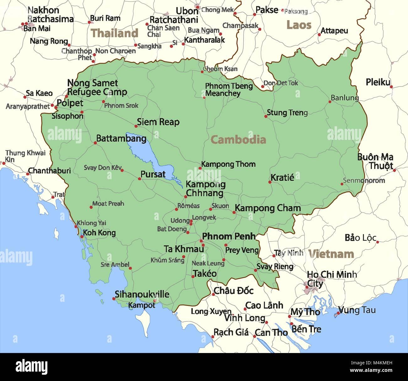 Kambodscha Karte.Karte Von Kambodscha Zeigt Die Landergrenzen Stadtischen