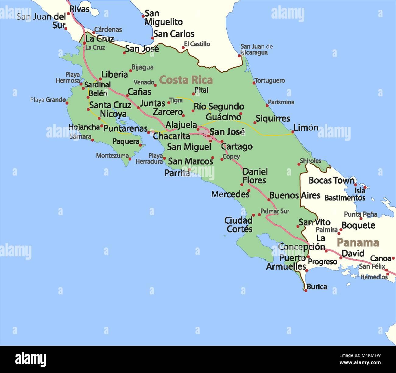 Costa Rica Karte Zum Ausdrucken.Map Of Costa Rica Stockfotos Map Of Costa Rica Bilder Alamy