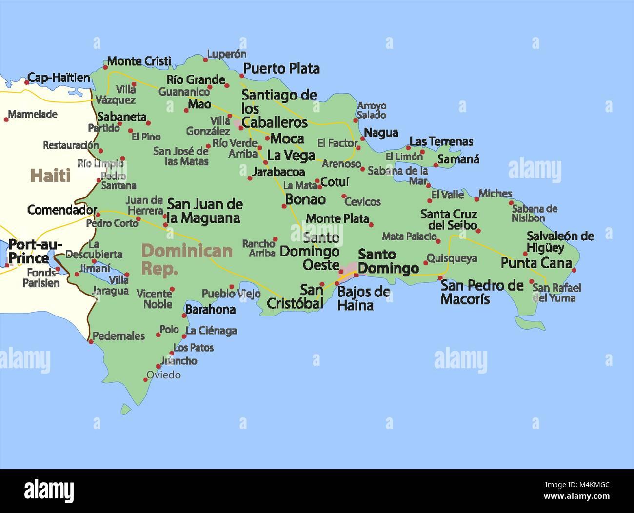 Karte Von Dominikanische Republik Zeigt Die Ländergrenzen