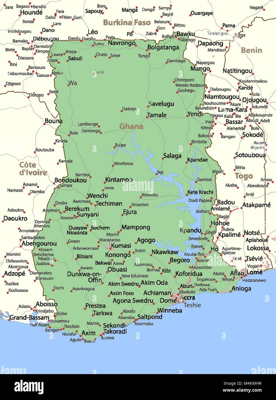 Ghana Karte.Karte Von Ghana Zeigt Die Landergrenzen Stadtischen