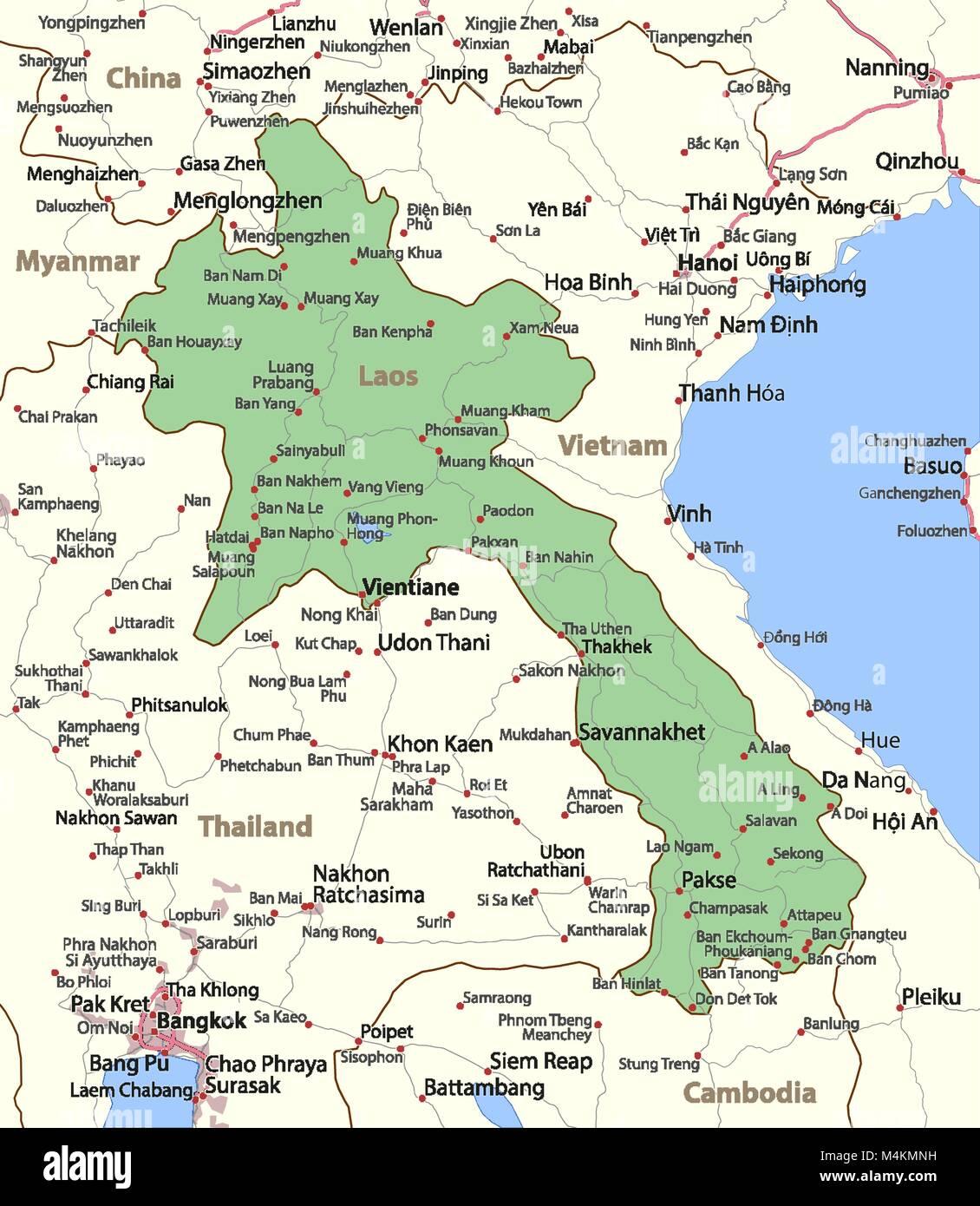 Laos Karte.Karte Von Laos Zeigt Die Ländergrenzen Städtischen Gebieten