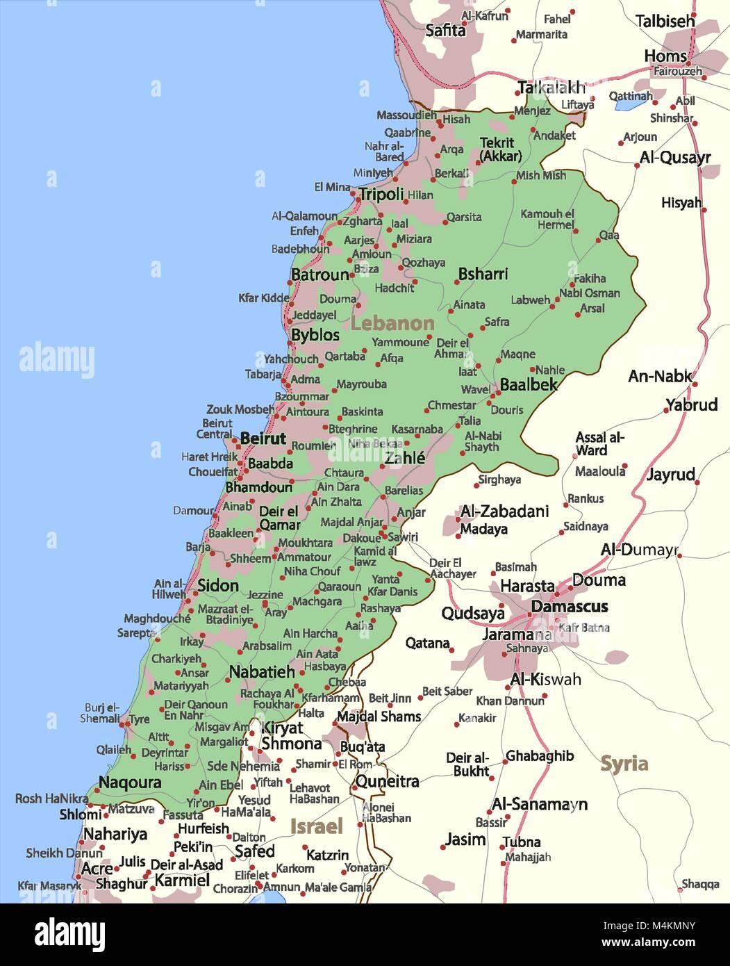 Libanon Karte Deutsch