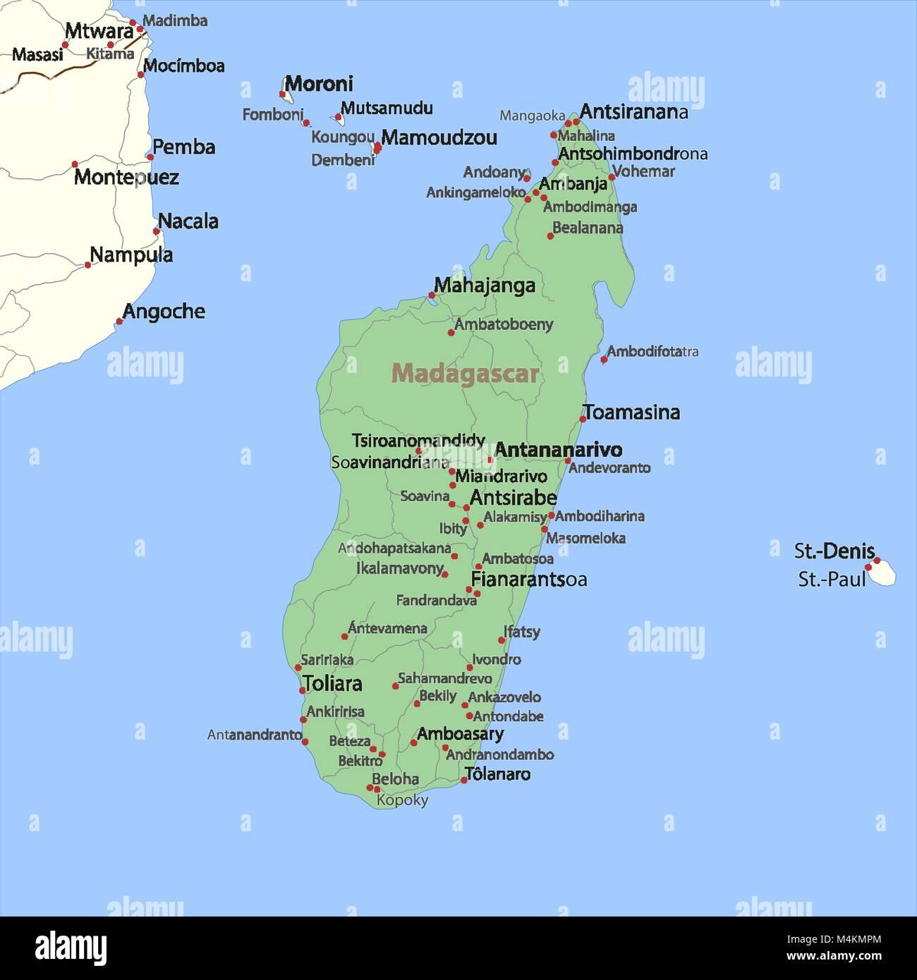 Madagaskar Karte.Karte Von Madagaskar Zeigt Die Landergrenzen Ortsnamen Und