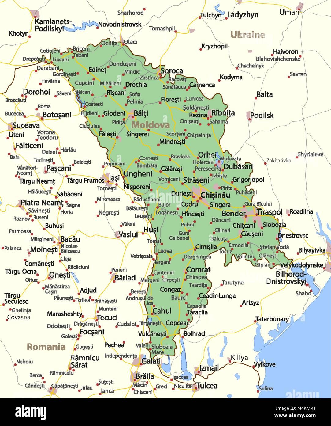 Moldawien Karte.Karte Von Moldawien Zeigt Die Ländergrenzen Städtischen Gebieten