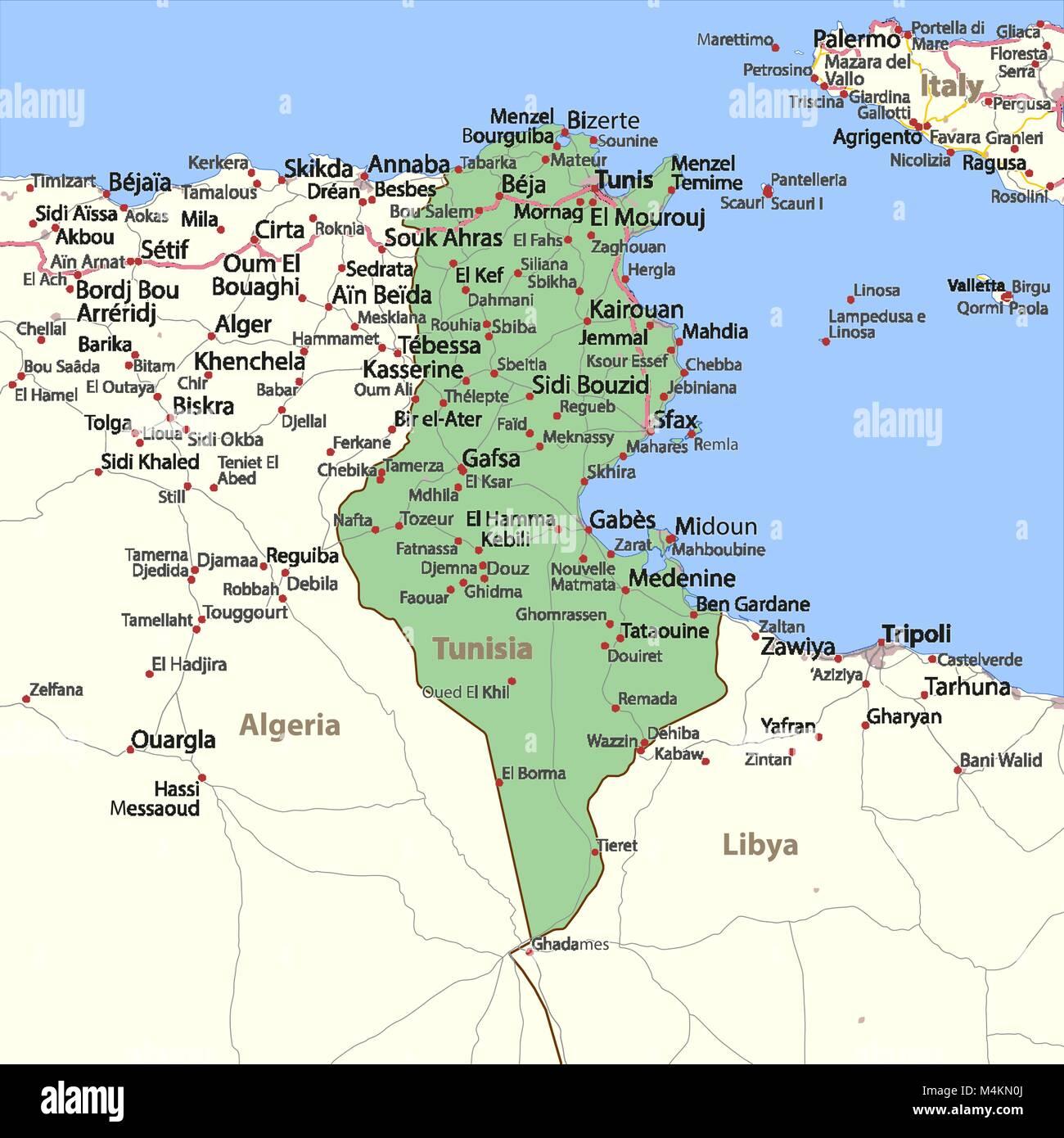 Tunesien Karte.Karte Von Tunesien Zeigt Die Landergrenzen Stadtischen
