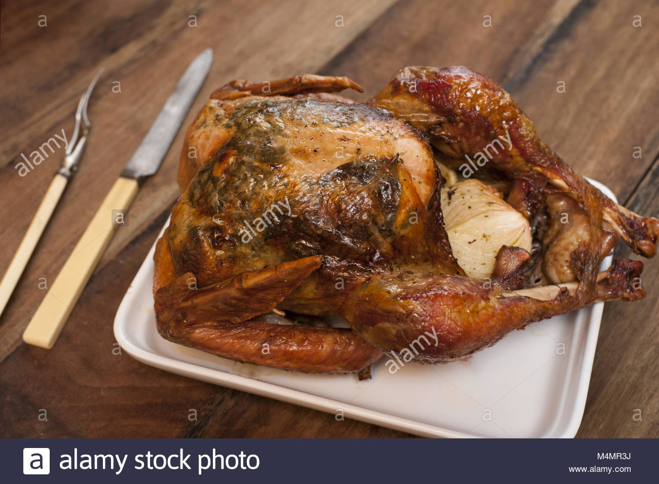 Gebratenes ganzes Huhn Stockbild