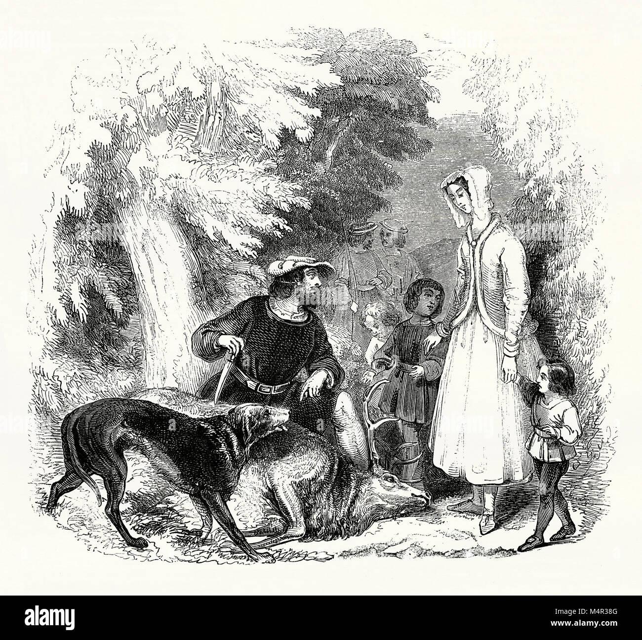 Wilhelm von Cloudsley und seine Frau Alice und Kinder in Wäldern im 14. Jahrhundert - sie sind nach der Tötung Stockbild