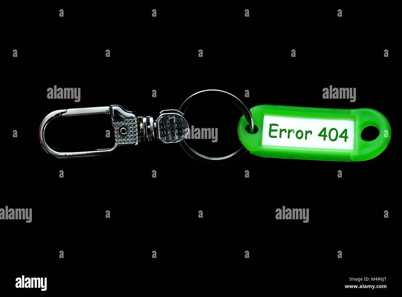 Schlüsselhalter Green Label Inhaber mit Text, Fehler 404 Stockbild