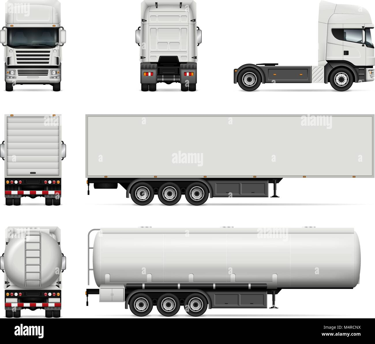 Lkw-Vektor Mock-up. Isolierte Vorlage von Lkw auf weißem Hintergrund ...