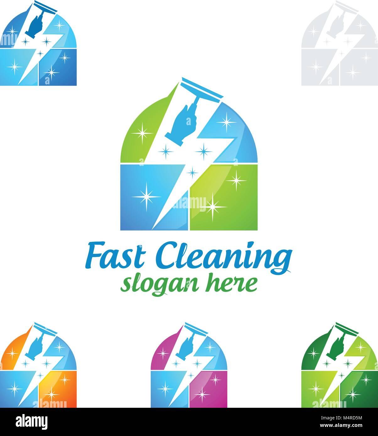 Schnelle Reinigung Service vektor Logo Design, umweltfreundliche ...